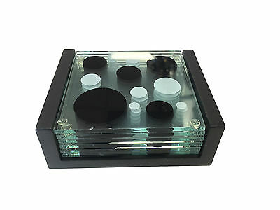6 Piece Glass Coaster Set With Holder 0213