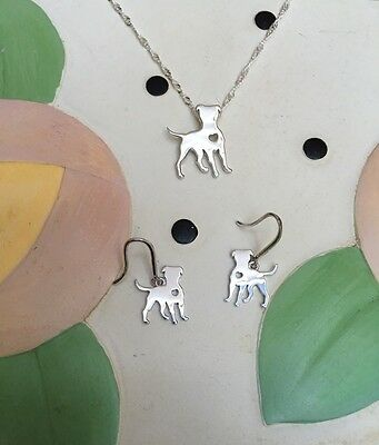 Standing Pit Bull Sterling Silver Necklace & Earrings Set - New - FREE SHIPPING