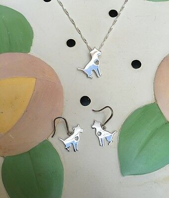 Sitting Pit Bull Sterling Silver Necklace/Earrings Gift Set - New/FREE SHIPPING