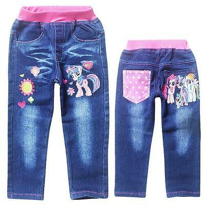 HOT Lovely My Little Pony Pants Cartoon Kids Toddlers Girls Jeans Trouser 3-9Yrs