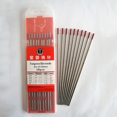 10Pcs WT20 Tig Welding Tungsten Electrodes Needle( 2.4*150mm )Welder Tool Red