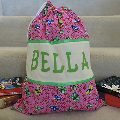 CHILD'S / GIRLS PERSONALISED NAME LIBRARY BAG / TOY BAG - Butterfly Print -