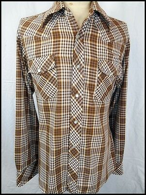 Vintage 70s Brown White Plaid Poly/Cotton Target Western Shirt Pearl Snaps L