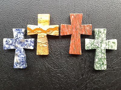 Religious Cross Stone Pendants - Ornament Statues. Set of 4 Different Colors