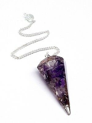 Amethyst Orgone Orgonite Pendulum Faceted Crystal Emf Protection Divination Tool