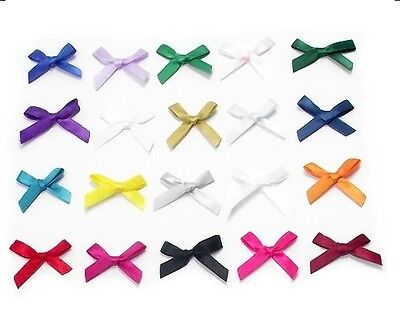 NEW 7mm Satin Mini Ribbon Bows - Single Colour or Mixed in Packs of 10 or 100