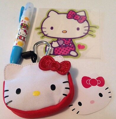Sanrio Hello Kitty Coin Purse w Carabiner Big Sticker & Scented Highlighter NWT