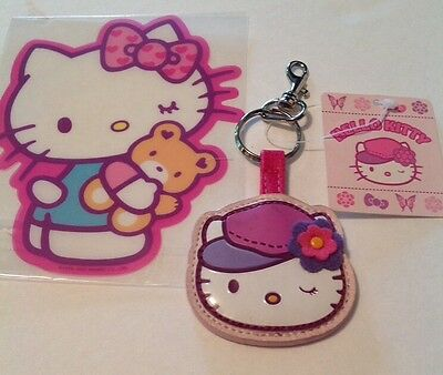Sanrio Hello Kitty Rare Vinyl Key Ring NWT 2006 Higher End Quality w Big Sticker