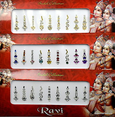 1 PACK of MULTI **Long Multi Pack 9's ** Indian BRIDAL Gem TIKKA Festival BINDI