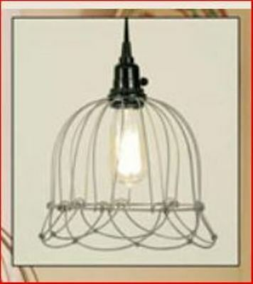 Pendant Light - Small Wire Bell Pendant Lamp - Barn Roof Finish - New! - 930004T