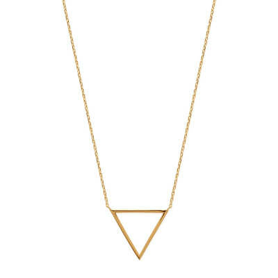 "Collier+B.Oreilles ""triangles ""Taille collier 42/45cm,plaqué or 18 carats"
