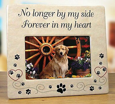 Pet Memorial Ceramic Picture Frame - No Longer By My Side Forever in My Heart -