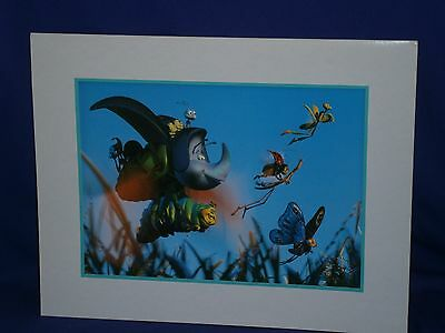 Vintage Disney Pixar Litho A Bug's Life Matted Lithograph 1999 11x14in Nice!
