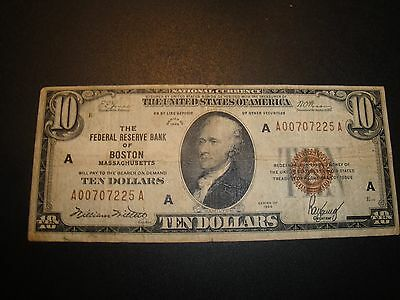 (1) $10.00 Series 1929 National Currency Note VF Circulated Condition.
