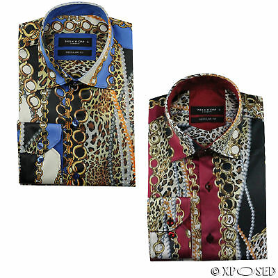 Mens Chain Print Silk Feel Smart Casual Designer Style Button Shirt Black Gold
