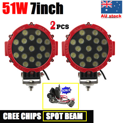 """2x 51W 7INCH CREE LED DRIVING LIGHT OFFROAD SPOT WORK LIGHT BAR 4WD BOAT 7"""" LAMP"""