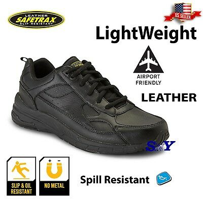 men's work shoe black leather slip resistant wide width