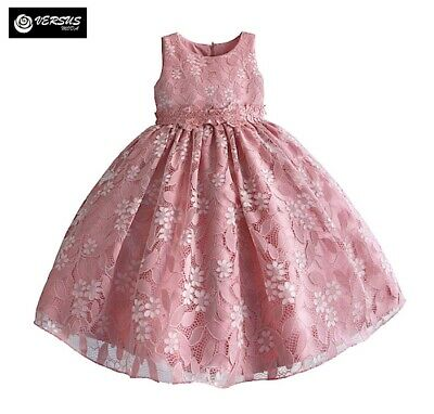 Vestito Bambina Abito Fiori in Pizzo - Girl Summer Lace Flowers Dress DGZF060