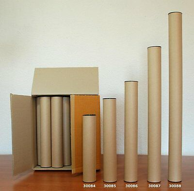 Pack 30 cardboard mail tubes 40 cm long with plastic caps, very strong (30084)
