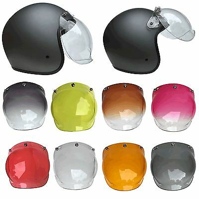 MKR 3-Snap Retro Bubble Visor Shield For Motorcycle Helmets With Flip Attachment