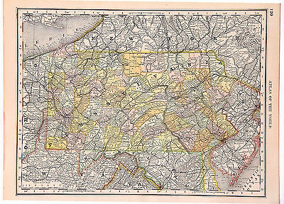 1890-Pennsylvania State map from the State Journal Standard Atlas of the World.