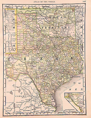 1890 - Texas & Oklahoma from the State Journal Standard Atlas of the World.