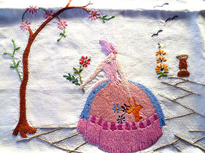 Stunning Pink Crinoline Lady ~Lge Vintage Heavily Hand Embroidered Cushion Cover