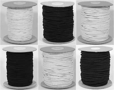 Quality Round Hat Elastic Black / White 1mm 2.5mm 3mm for hats jewellery crafts