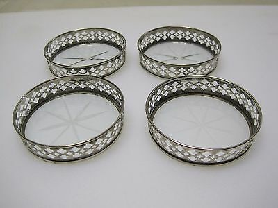 (4) Vintage Sterling Silver & Cut Glass Coasters A4778