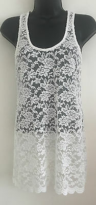 NEW KRISP Size 8-16 White Lace Floral Print Summer Holiday Tunic Top Vest Blouse