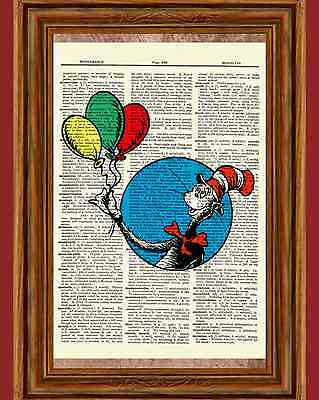 Dr. Seuss Cat in the Hat Dictionary Art Print Picture Poster Balloon Nursery