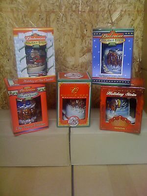 2001, 2002, 2003 2004 and 2005  bud Budweiser Holiday Christmas Beer Steins  lot