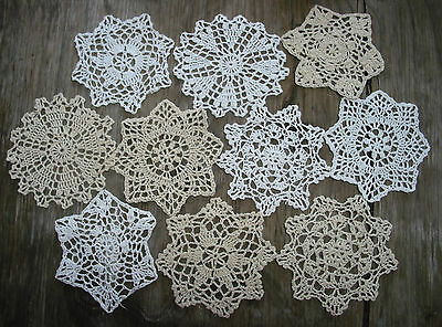 "lot of 10 Hand Crochet Doilies 5"" White & Natural Vintage Wedding Tea Party NEW"