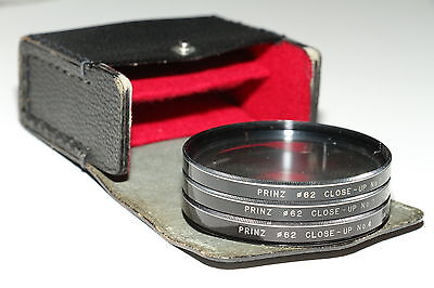 Set of three 62mm close-up front lens filter kit with pouch. +1 +2 +4 lenses