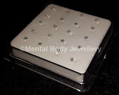 Box 20 x 925 Sterling Silver Clear 2mm Clawset Crystal Nose Studs Straight Backs