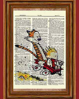 Calvin and Hobbes Dictionary Art Print Book Page Picture Poster Red Wagon