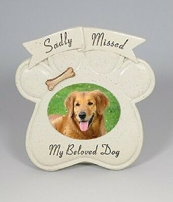 Beloved Dog Memorial Paw Shaped Photo Frame Grave Ornament Sadly Missed