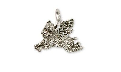 Brussels Griffon Angel Charm Handmade Sterling Silver Dog Jewelry GF6-AC