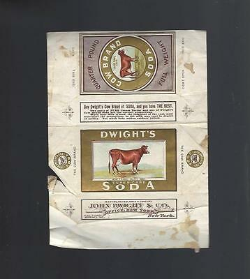 Late 1800's DWIGHT'S SODA Cow Brand Package Label