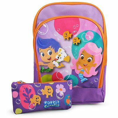 """New Bubble Guppies Mini 11"""" Toddler Backpack with Pencil Case Official Licensed"""