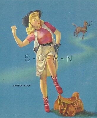 Original Vintage Semi Nude Large (5 x 6) Pinup- Louis Dow- Switch Hitch- Cowgirl