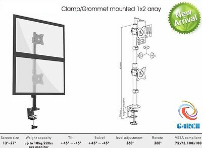 """Vertical Dual Double Lcd Monitor Stand Clamp Mount Adjustable 2 Screens 15-27"""""""