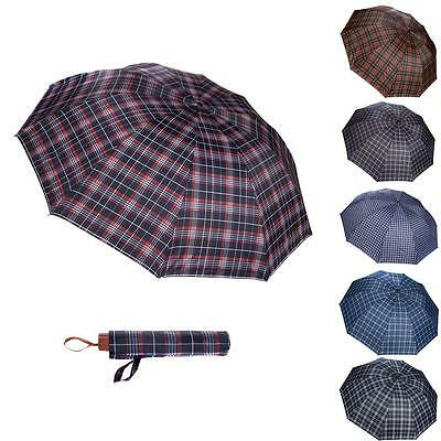 Windproof Anti-UV Sun Rain Compact Folding Tartan Plaid Umbrella Parasol Vintage