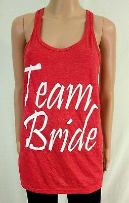 "New Womens Large L Shop 4 Ever ""TEAM BRIDE"" Racerback Red Wedding Tank Top Tee"