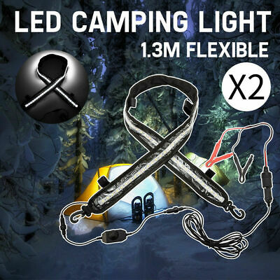 PAIR 12V 1.3M FLEXIBLE LED Camping Lights 72LED 5050 SMD Caravan Boat Strip Lamp