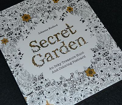 The Secret Garden Adult Colouring Colour in Stress Therapy Relaxation Postcards