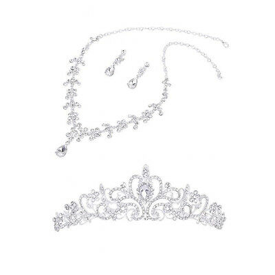 Cfly889 Wedding Party Bridal Bridesmaid Flower Crown Tiara+Necklace Earring Set