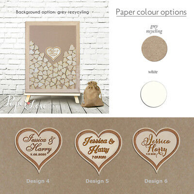 Personalised Wedding Guest Book Wooden Drop Box Drop Top Large Heart Free Stand