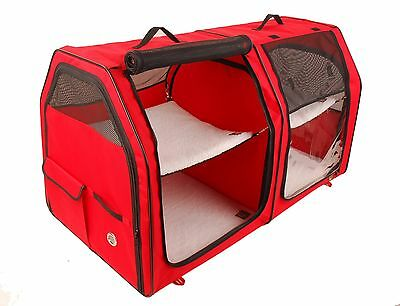 Cat Show House Portable Dog Kennel (Shelter) Red / Cream / Tan