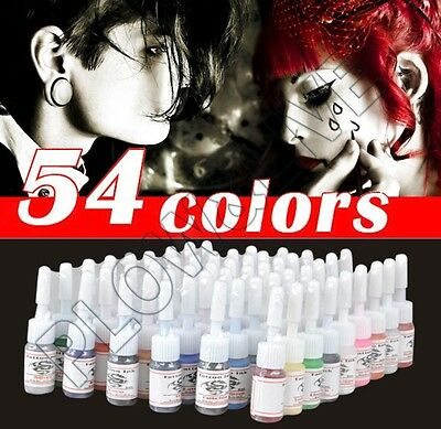 Pro Tattoo Ink Pigment Set 54 Colors For Tattoo Machine Gun Kit Power Supply
